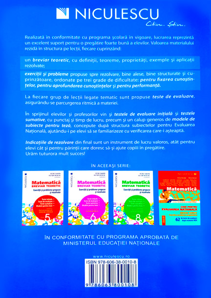 Matematica Clasa A VII A Breviar Teoretic Cu Exercitii Si Probleme Propuse Si Rezolvate Teste Initiale Teste De Evaluare Teste Sumative Modele De