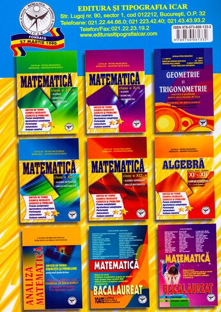 Culegere de exercitii, Matematica, Clasa a XI-a, Sinteze si teorie
