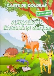 Carte de colorat cu abtibilduri. Animale din savana si padure.