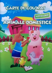 Carte de colorat cu abtibilduri. Animale domestice.