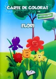 Carte de colorat cu abtibilduri. Flori.