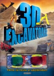 3D Excavatoare - Carte cu teste si abtibilduri