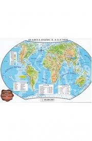 Harta politica a lumii si Harta fizica a lumii (pliata)